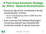 a post crisis economic strategy for africa sectoral diversification