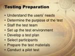 testing preparation