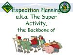 expedition planning a k a the super activity the backbone of venturing