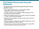 ipv6 global unicast and anycast addresses