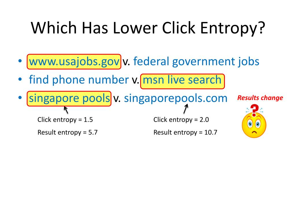 Which Has Lower Click Entropy?
