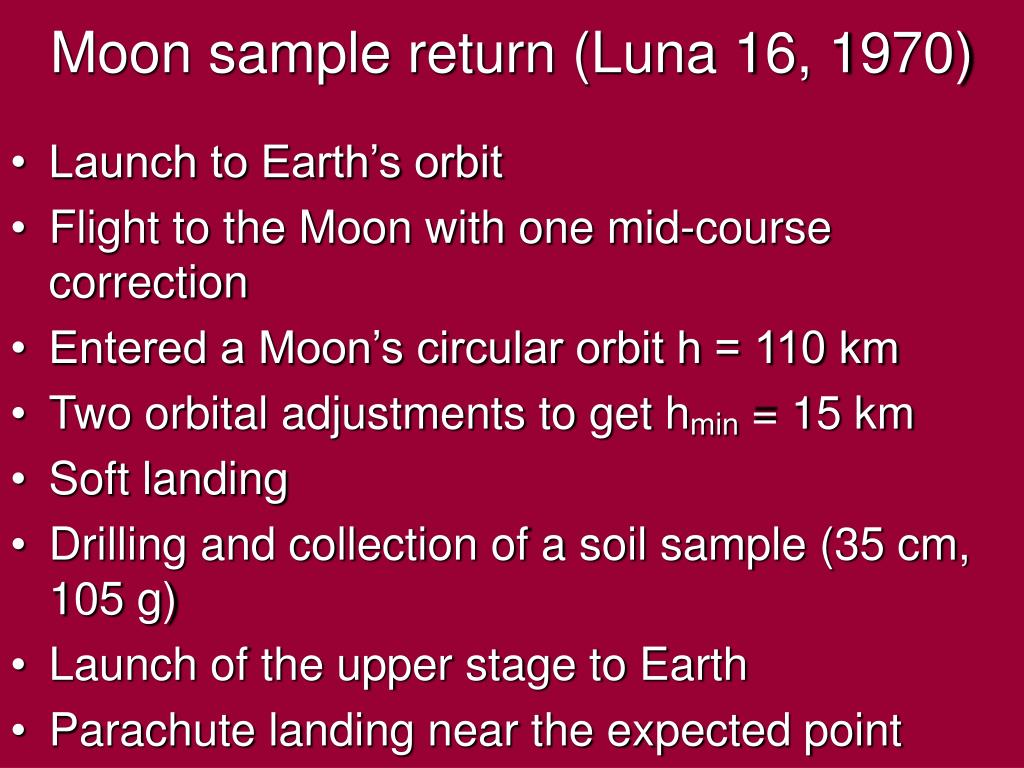 Moon sample return (Luna 16, 1970)
