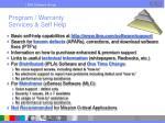 program warranty services self help