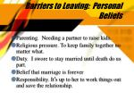 barriers to leaving personal beliefs