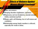 effects of violence against women mental emotional