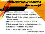 why women stay in an abusive relationship
