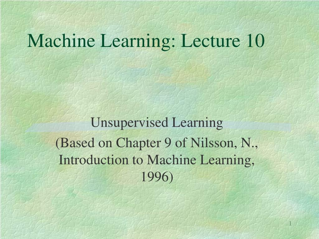 machine learning lecture 10 l.