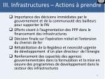 iii i nfrastructures actions prendre