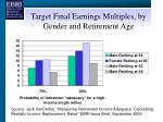 target final earnings multiples by gender and retirement age