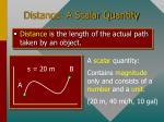 distance a scalar quantity