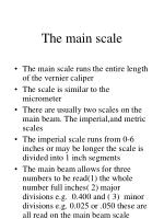 the main scale