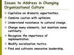 issues to address in changing organizational culture