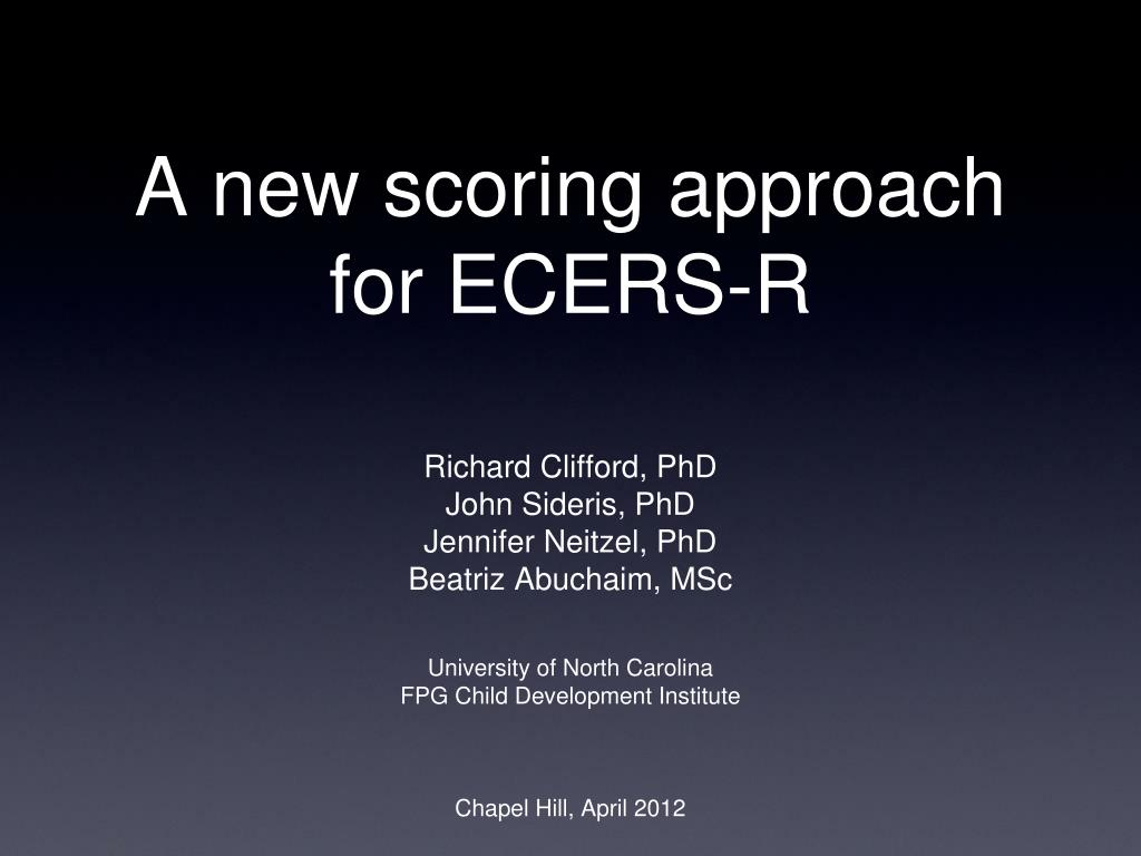a new scoring approach for ecers r l.