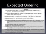 expected ordering