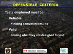 defensible criteria