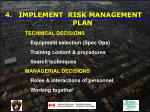 implement risk management plan