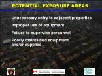 potential exposure areas27