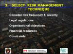 select risk management technique