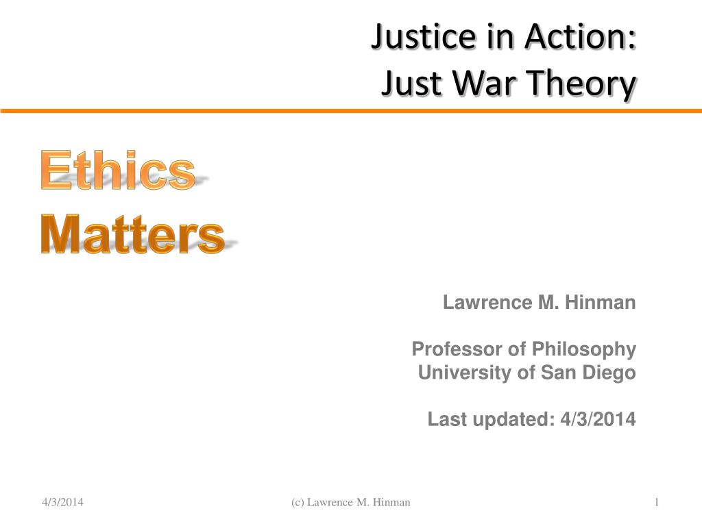 justice in action just war theory l.