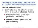 deciding on the marketing communications mix factors in setting the marketing communications mix
