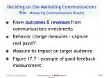 deciding on the marketing communications mix measuring communications results