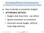 developing effective communications establishing the total marketing communications budget