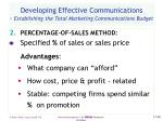 developing effective communications establishing the total marketing communications budget48