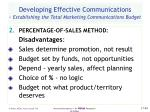 developing effective communications establishing the total marketing communications budget49