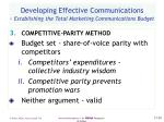 developing effective communications establishing the total marketing communications budget50