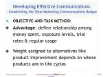 developing effective communications establishing the total marketing communications budget52