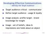 developing effective communications identify the target audience