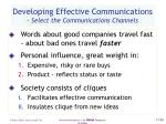 developing effective communications select the communications channels40