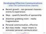 developing effective communications select the communications channels45