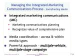 managing the integrated marketing communications process coordinating media
