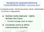 managing the integrated marketing communications process coordinating media68