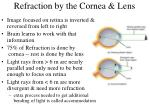 refraction by the cornea lens