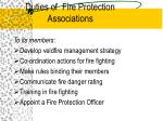 duties of fire protection associations