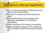 implications for other govt departments