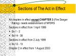 sections of the act in effect
