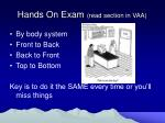 hands on exam read section in vaa