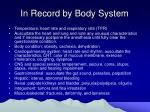 in record by body system