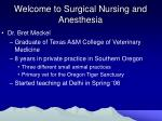 welcome to surgical nursing and anesthesia
