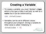 creating a variable