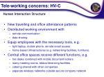tele working concerns hv c