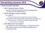 tele working concerns hv e