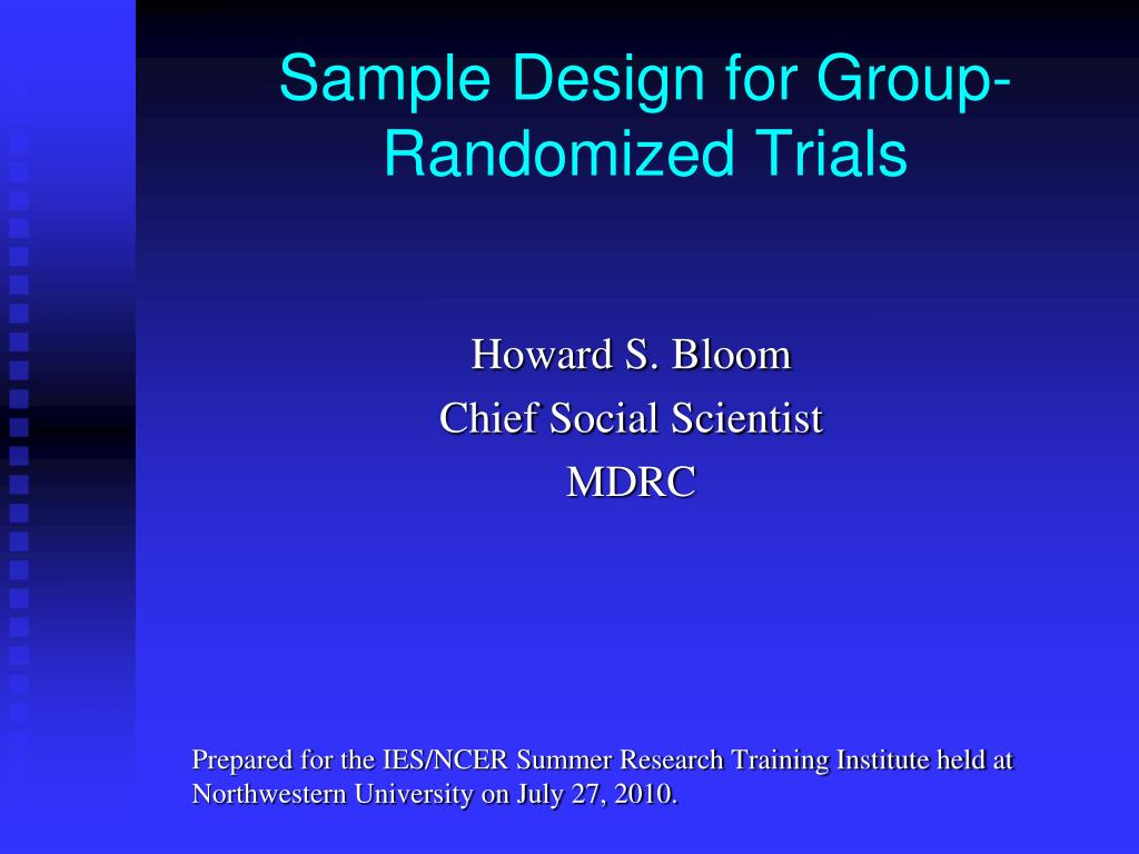sample design for group randomized trials l.