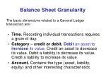 balance sheet granularity9