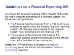 guidelines for a financial reporting dw