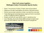 how it all comes together wellington indoor community sports centre