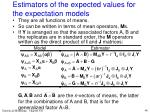 estimators of the expected values for the expectation models